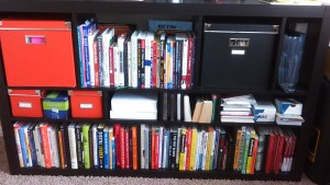 Here's what my bookshelf looks like today! Not much more room... Probably time to get a new shelving system for MORE BOOKS!